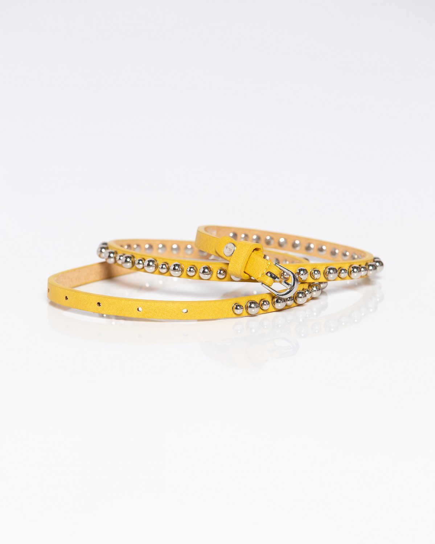 Ζώνη με ασημί μπιλάκια κίτρινη