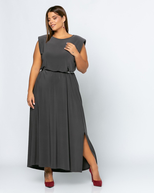 Φόρεμα Με Βάτες Grey