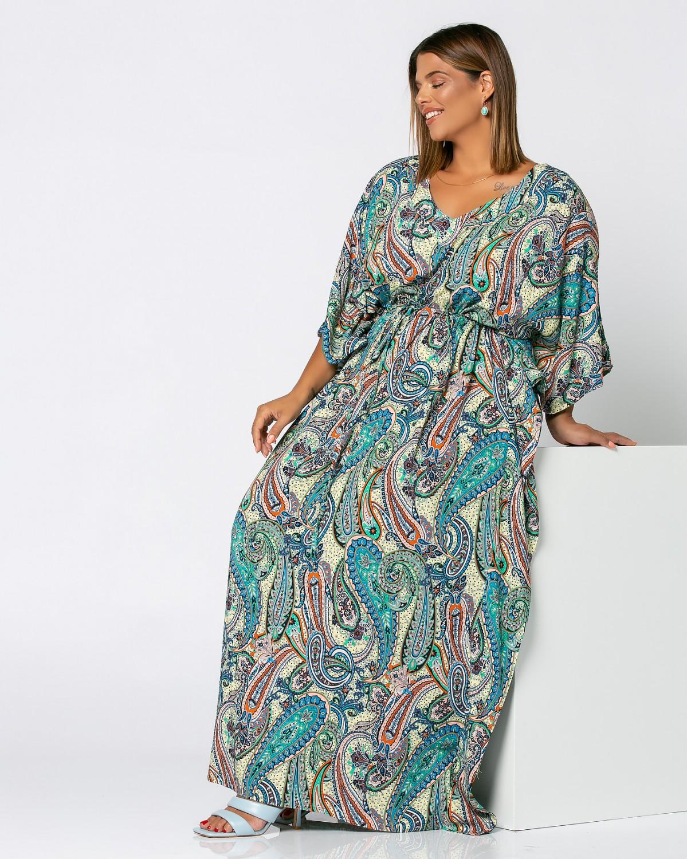 Φόρεμα με λαχούρια θαλασσί
