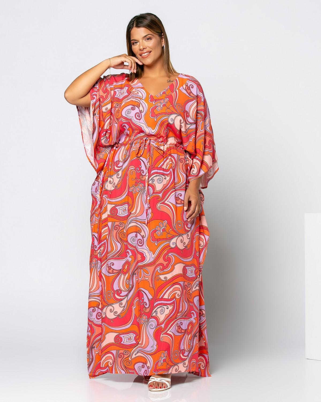 Φόρεμα εμπριμέ πορτοκαλί