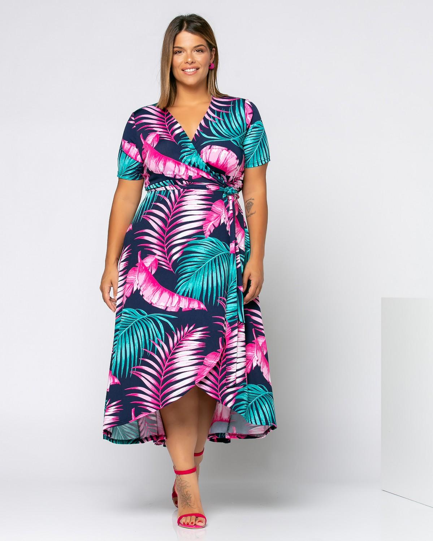 Φόρεμα Κρουαζέ Φλοράλ Πετρόλ-Ροζ