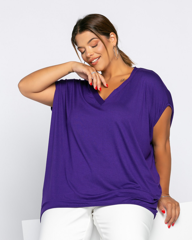 Veronika T-Shirt V Μωβ