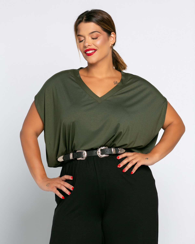Veronika T-Shirt V Λαδί