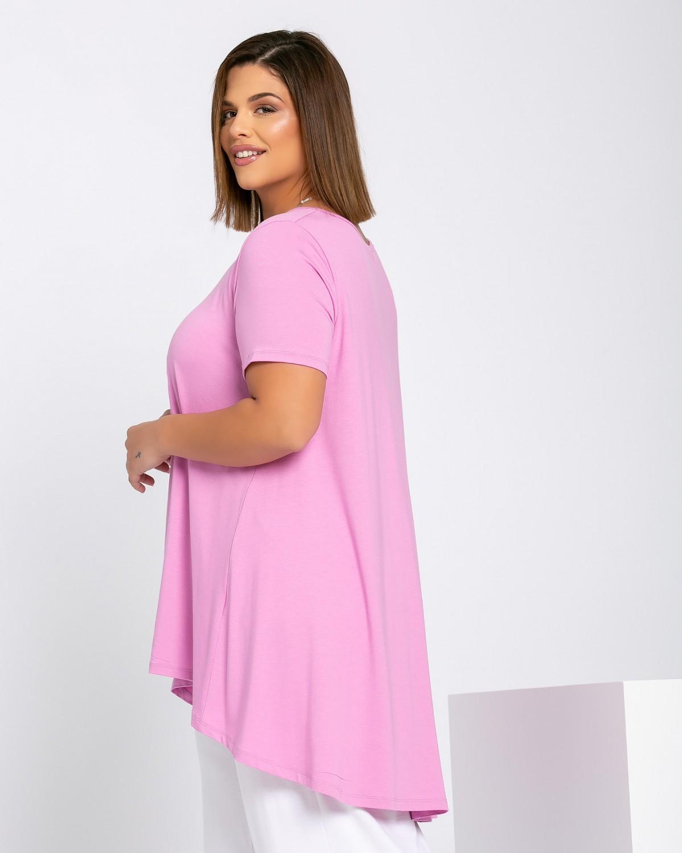 Ασύμμετρο Τ-Shirt V Με Κουφόπιετα Purple Pink