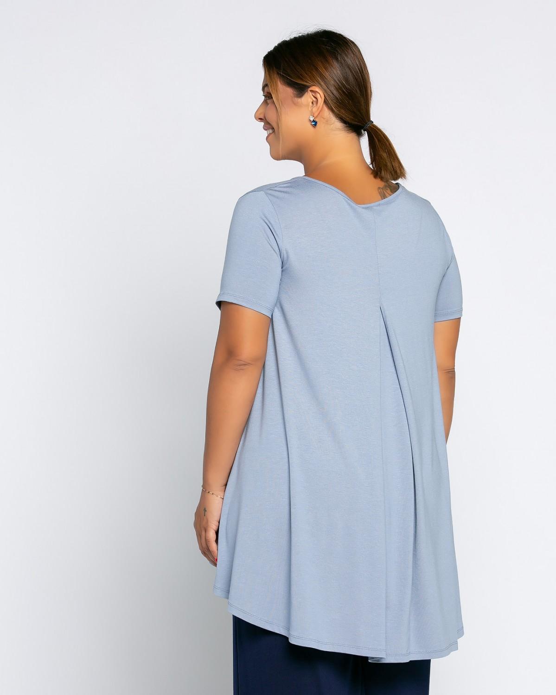 Ασύμμετρο Τ-Shirt V Με Κουφόπιετα Σιέλ