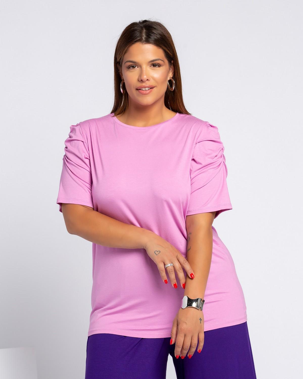 T-Shirt με σούρα στα μανίκια purple pink