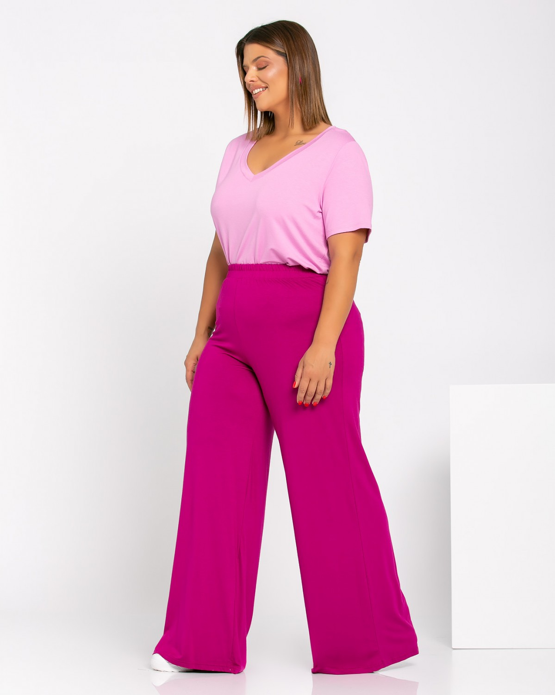 T-Shirt V purple pink