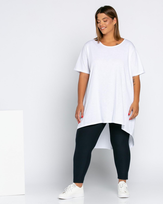 Ασύμμετρο Τ-Shirt Με Σχέδιο Στη Πλάτη Λευκό