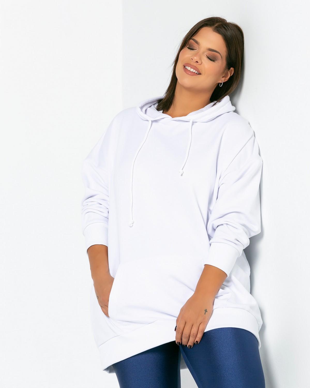 Μπλούζα φούτερ με τσέπες λευκό