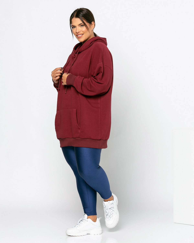 Μπλούζα φούτερ με τσέπες μπορντώ