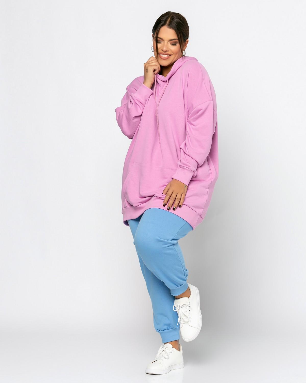 Μπλούζα φούτερ με τσέπες purple pink