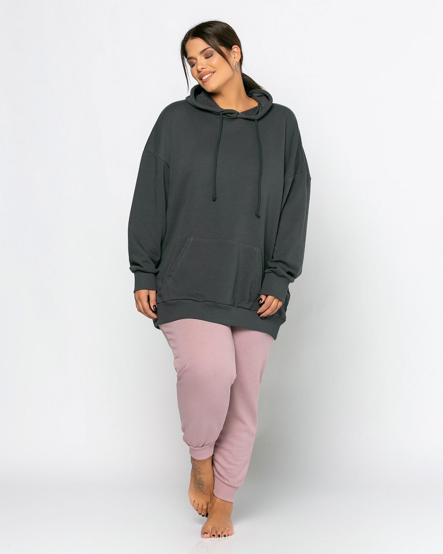 Μπλούζα φούτερ με τσέπες ανθρακί