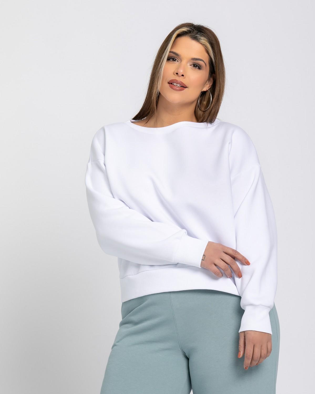 Cropped μπλούζα φούτερ λευκό