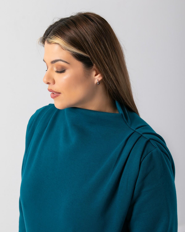 Μπλούζα φούτερ με πιέτα στους ώμους πετρολ