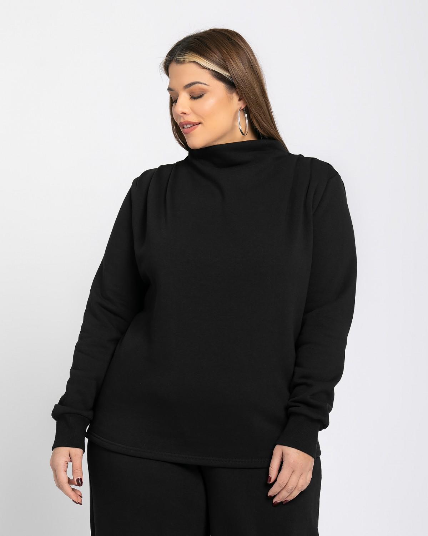 Μπλούζα φούτερ με πιέτα στους ώμους μαύρο