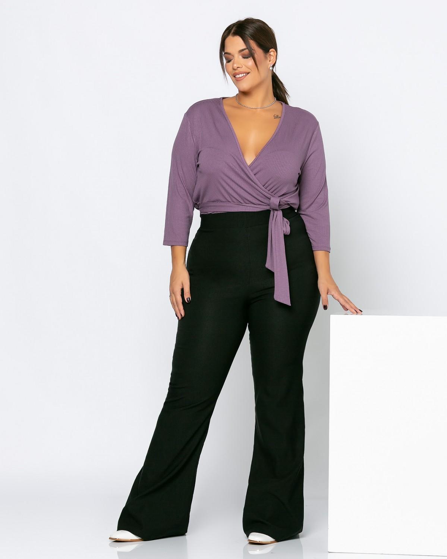 Μπλούζα κρουαζέ ψιλό πλεκτό vintage purple