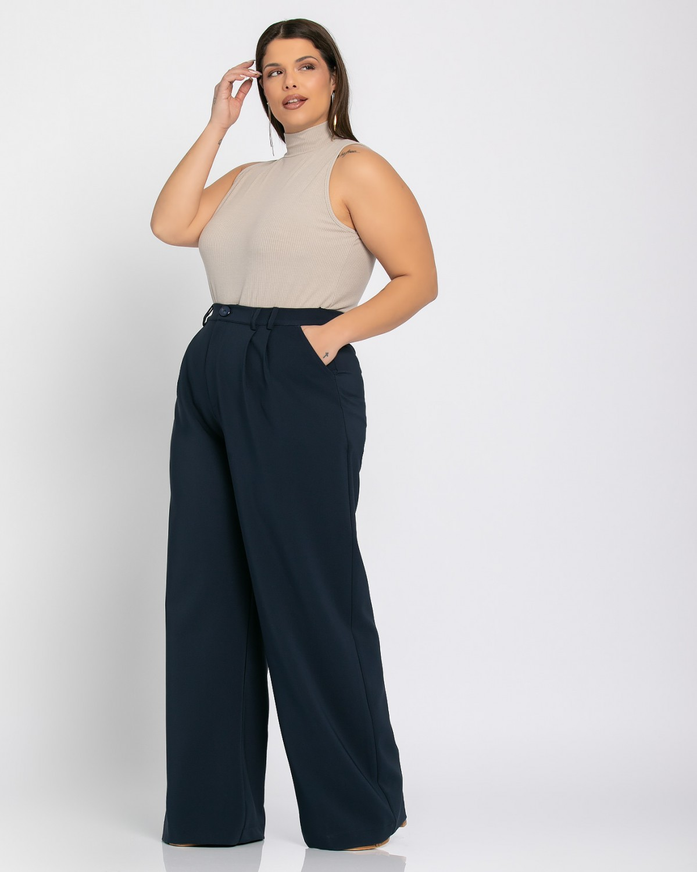 Παντελόνι με πιέτες μπλε σκούρο