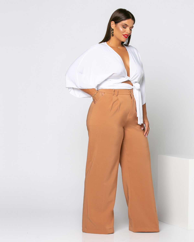 Παντελόνι με πιέτες ταμπά ανοιχτό