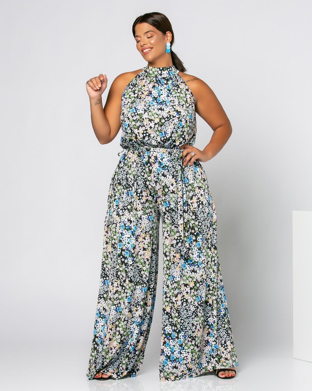 Φόρμα Τσόκερ Floral Θαλασσί-Μαύρο