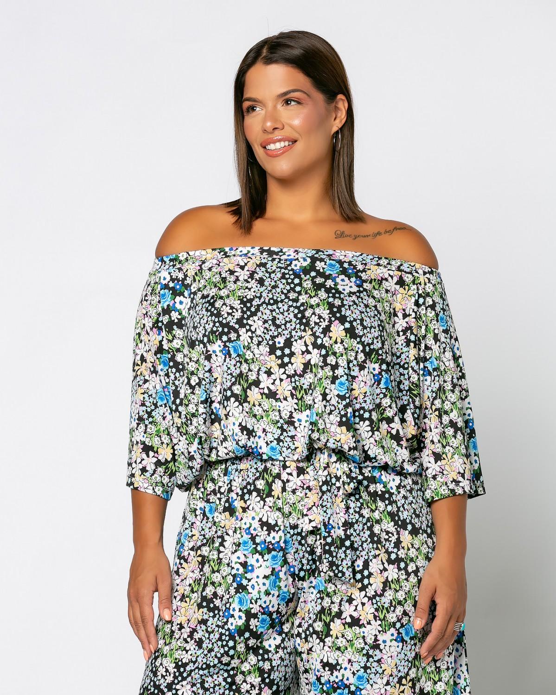 Φόρμα Έξωμη Floral Μαύρο-Θαλασσί