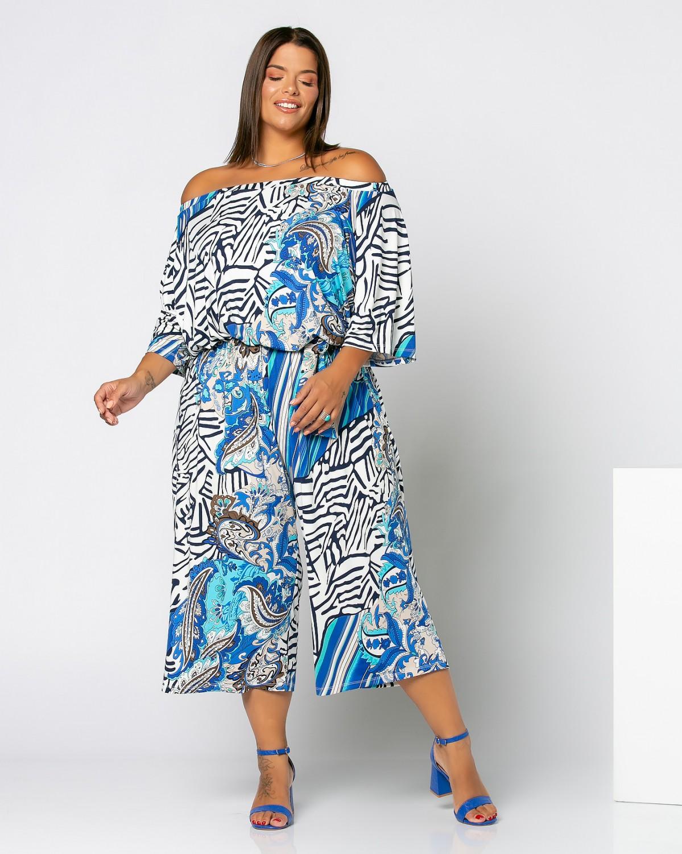 Φόρμα Έξωμη Εμπριμέ Λευκό-Θαλασσί